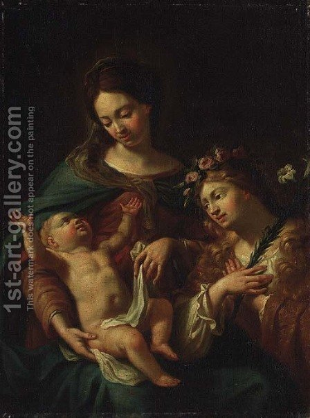 The Madonna and Child with an adoring angel by Italian School - Reproduction Oil Painting