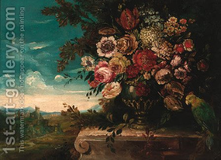 Peonies, roses, tulips and other flowers in an urn by Italian School - Reproduction Oil Painting