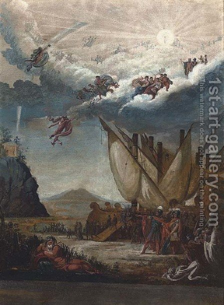 The Gods celebrating a great warriors arrival by Italian School - Reproduction Oil Painting