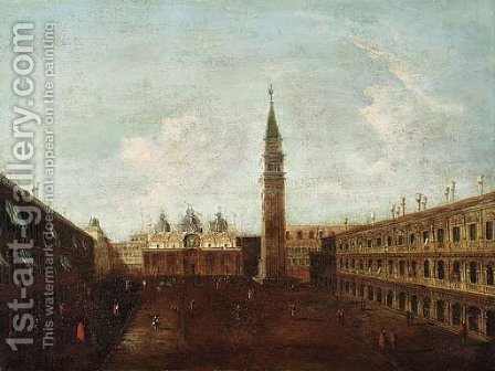 The Piazza de San Marco, looking east, the basilica beyond by Italian School - Reproduction Oil Painting