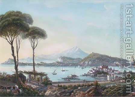Bay of Naples by Italian School - Reproduction Oil Painting