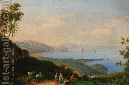 Figures conversing on a track, the Neopolitan coast beyond by Italian School - Reproduction Oil Painting