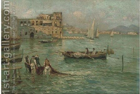Figures in a sunlit harbour by Italian School - Reproduction Oil Painting
