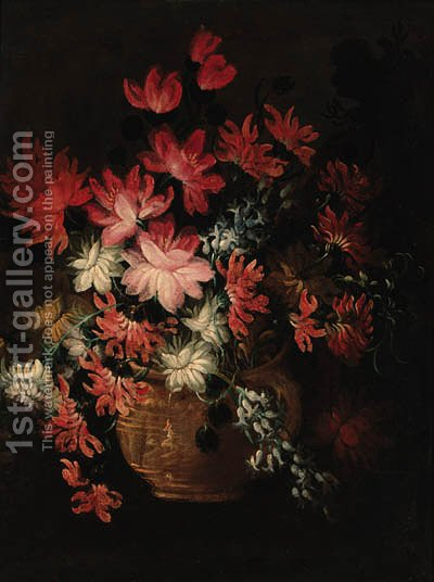 Flowers in a vase by Italian School - Reproduction Oil Painting