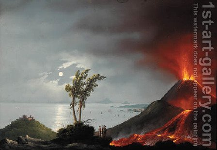The eruption of Mount Vesuvius by Italian School - Reproduction Oil Painting