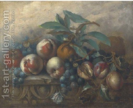 Peaches, grapes, oranges and an apple on an ornamental ledge by Italian School - Reproduction Oil Painting