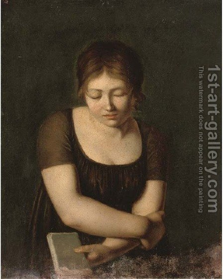 A girl holding a book by Italian School - Reproduction Oil Painting