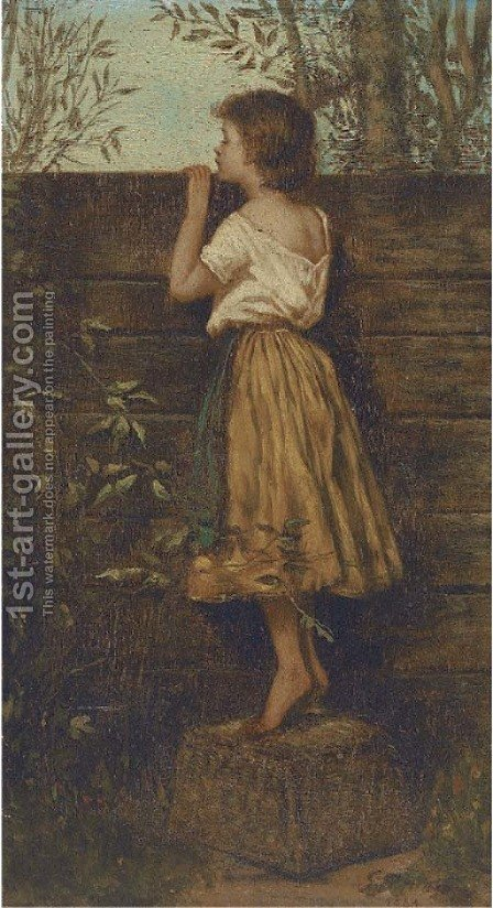 A peep next door by Italian School - Reproduction Oil Painting