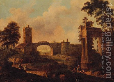Figures Before Ruins In An Italianate Landscape by Italian School - Reproduction Oil Painting