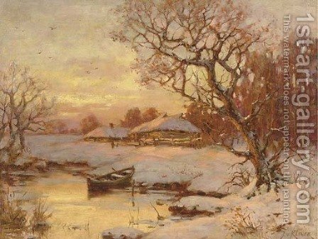 River Landscape at Sunset by Iulii Iul'evich (Julius) Klever - Reproduction Oil Painting