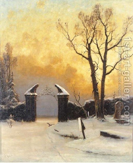 Sunset over the Cemetery by Iulii Iul'evich (Julius) Klever - Reproduction Oil Painting