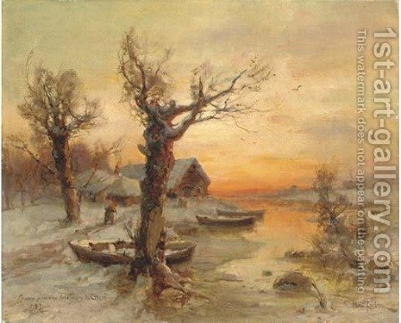 The riverside at winter by Iulii Iul'evich (Julius) Klever - Reproduction Oil Painting