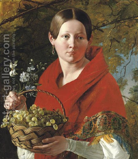 Portrait of a young woman holding a basket of grapes by Ivan Fomich Khrutskii - Reproduction Oil Painting