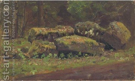 Rocky landscape by Ivan Shishkin - Reproduction Oil Painting
