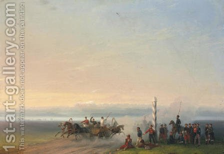 A country track by the Black Sea by Ivan Konstantinovich Aivazovsky - Reproduction Oil Painting