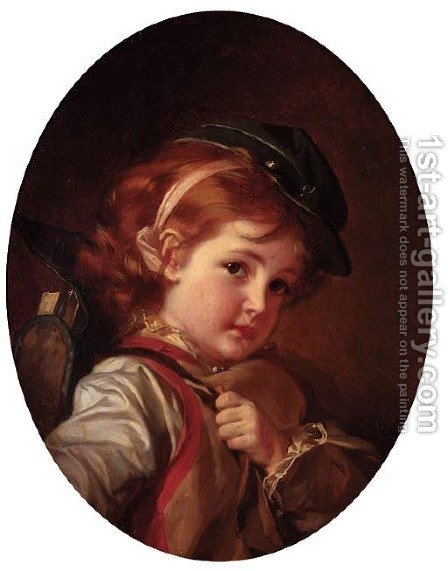 Portrait of a Boy in soldier's Cap by Ivan Kuz'mich Makarov - Reproduction Oil Painting