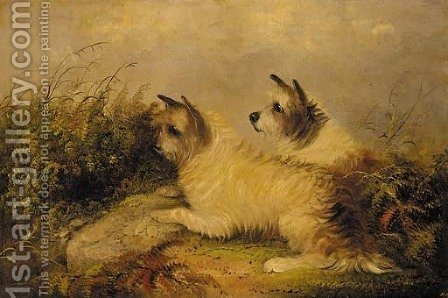 Terriers on the scent by J. Langlois - Reproduction Oil Painting