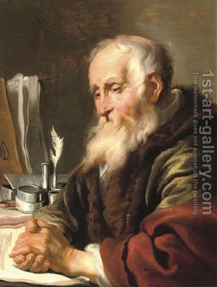 An elderly scholar at his desk by Jacob Adriaensz Backer - Reproduction Oil Painting