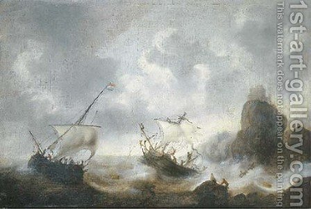A coastal landscape with frigates off the coast in a storm by Jacob Adriaensz. Bellevois - Reproduction Oil Painting