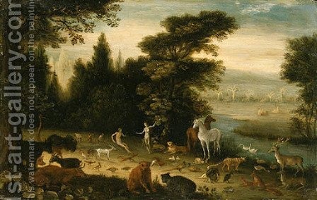 The Garden of Eden by Jacob Bouttats - Reproduction Oil Painting