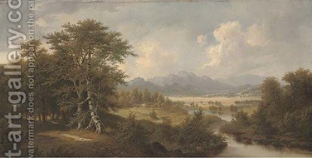 A tranquil river, with mountains beyond by Jacob Burgaritzki - Reproduction Oil Painting