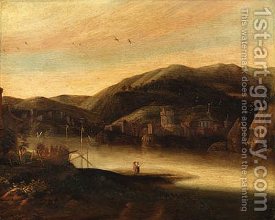 A river landscape with figures, a town and hills beyond by Jacob De Villeers - Reproduction Oil Painting