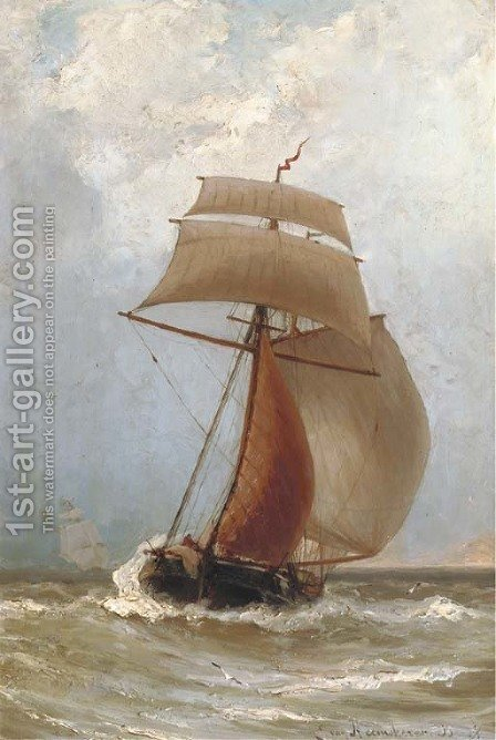 A Kofschip in full sail by Jacob Eduard Van Heemskerck Van Beest - Reproduction Oil Painting
