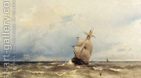 Shipping on a rough sea by Jacob Eduard Van Heemskerck Van Beest - Reproduction Oil Painting