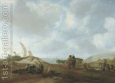 A dune landscape with fisherfolk resting by Jacob Esselens - Reproduction Oil Painting