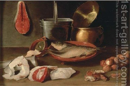 Bream in a stoneware bowl with onion by Jacob Fopsen van Es - Reproduction Oil Painting