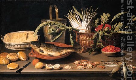 A fish on a terracotta platter with fruits, vegetables and a cheese by Jacob Fopsen van Es - Reproduction Oil Painting