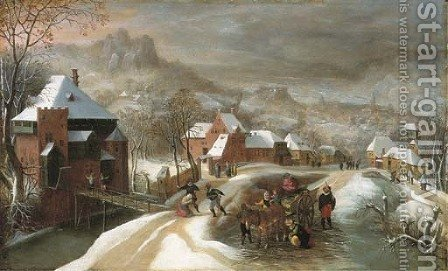 A winter landscape with soldiers in a village by Jacob Grimmer - Reproduction Oil Painting