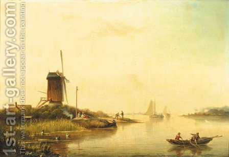 A river landscape with fishermen, a windmill nearby by Jacob Hendrik Van Duinen - Reproduction Oil Painting