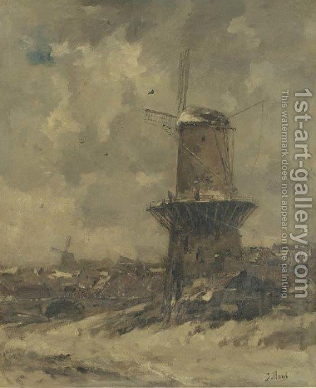 A windmill in the snow by Jacob Henricus Maris - Reproduction Oil Painting