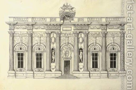 A facade of five bays in the Corinthian Order by J. Androuet (du Cerceau) Ducerceau - Reproduction Oil Painting