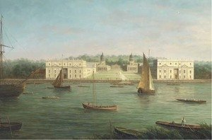 Reproduction oil paintings - James Hardy Jnr - A view of Greenwich Naval College from across the Thames