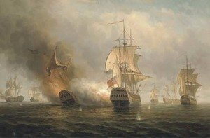 Reproduction oil paintings - James Hardy Jnr - A naval engagement