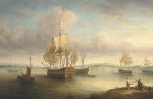 Reproduction oil paintings - James Hardy Jnr - Ships at anchor in an estuary