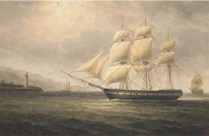Reproduction oil paintings - James Hardy Jnr - Warships off the coast