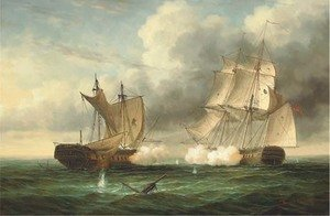 Reproduction oil paintings - James Hardy Jnr - A naval engagement 2