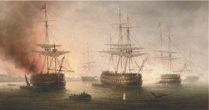 Reproduction oil paintings - James Hardy Jnr - Naval engagement in a Mediterranean harbour