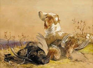 Reproduction oil paintings - James Hardy Jnr - A gun dog with the day's bag
