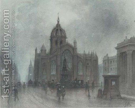St. Giles Kirk, Edinburgh by J. Little - Reproduction Oil Painting