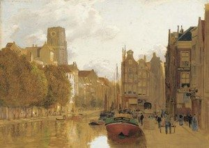 Reproduction oil paintings - James Thomas Watts - A view of Rotterdam with the Laurens church in the background