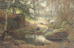 Reproduction oil paintings - James Thomas Watts - A Rocky Woodland Pond