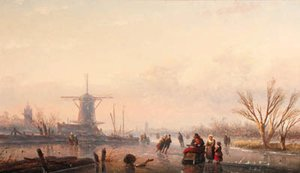 A winter landscape with skaters and horse-drawn sledge by windmill on frozen river