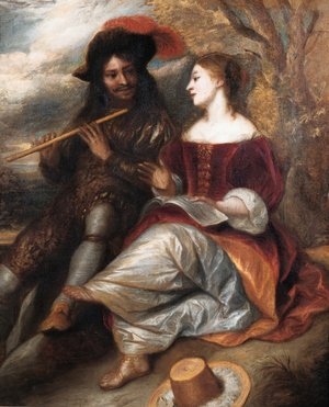 Reproduction oil paintings - Jan Lievens - A couple in shepherd costume by a tree in a landscape