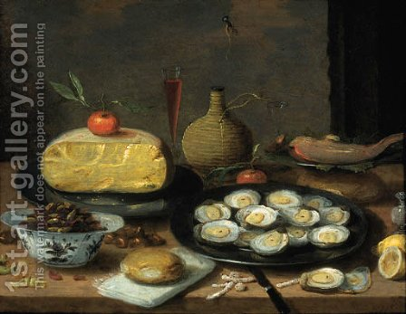 Jan van Kessel: A breakfast still life of oysters on a pewter plate, a half cheese, bread, hazelnuts, chestnuts, lemons, mandarins, a fish, a pepper pot - reproduction oil painting