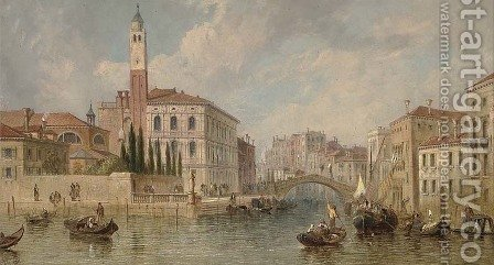 On the Grand Canal, looking towards the Ca' labia, Venice by J. Vivian - Reproduction Oil Painting