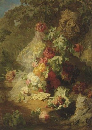 A Still Life of Lace, Flowers and Gloves in a Garden
